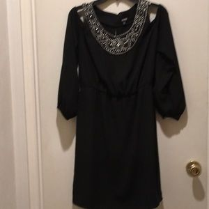 COLD SHOULDER BLACK LONG SLEEVE DRESS/MELROSE NWT!